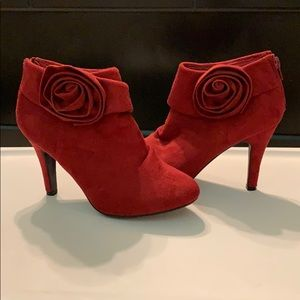 Red suede high heel ankle booties